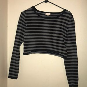 Black and Grey Striped Crop Top